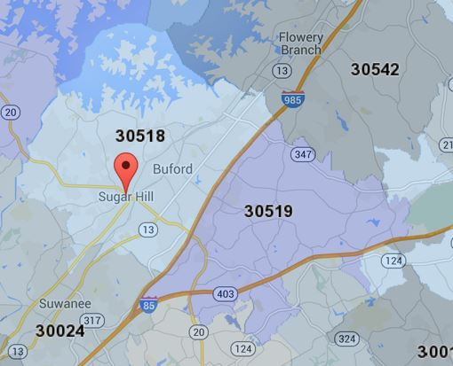 30518 Sugar Hill Buford Zip Code Map